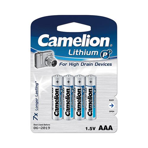Батарейки Camelion AAA (FR03-BP4), Lithium, комплект - 4 штуки